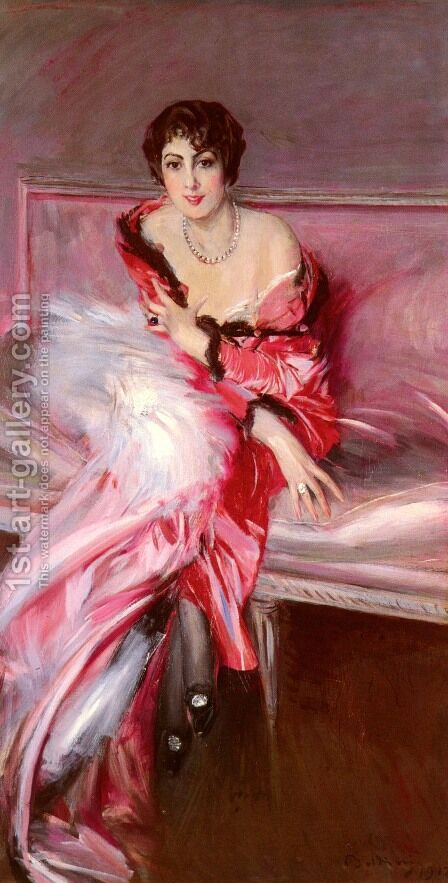 Portrait Of Madame Juillard In Red by Giovanni Boldini - Reproduction Oil Painting
