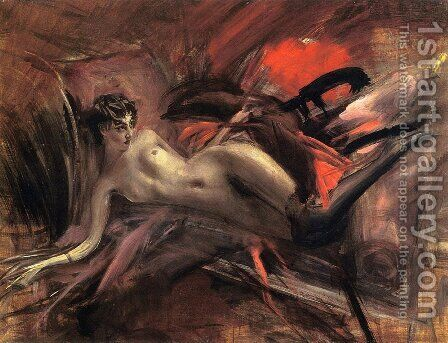 Reclining Nude2 by Giovanni Boldini - Reproduction Oil Painting