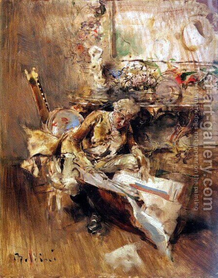 The Art Connoisseur by Giovanni Boldini - Reproduction Oil Painting