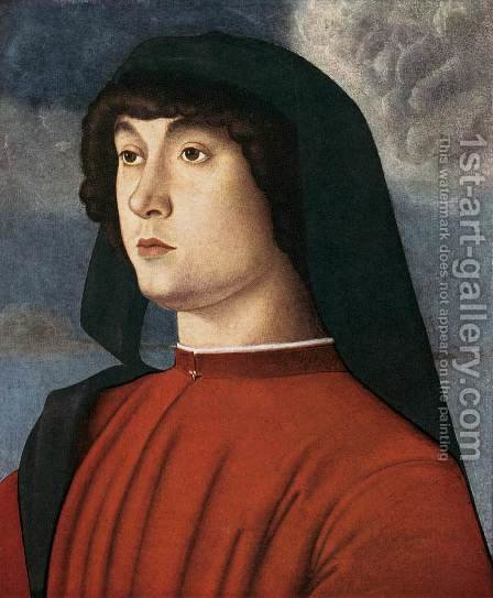 Portrait of a Young Man in Red 1485-90 by Giovanni Bellini - Reproduction Oil Painting