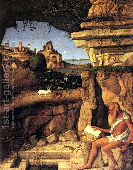Saint Jerome Reading 1505 by Giovanni Bellini - Reproduction Oil Painting