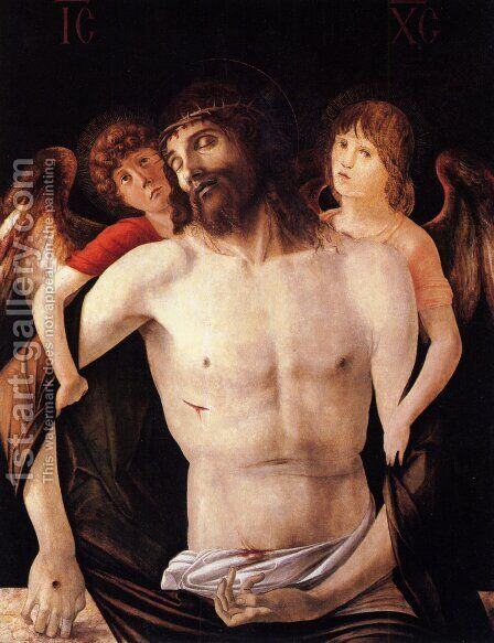 The Dead Christ Supported By Two Angels by Giovanni Bellini - Reproduction Oil Painting