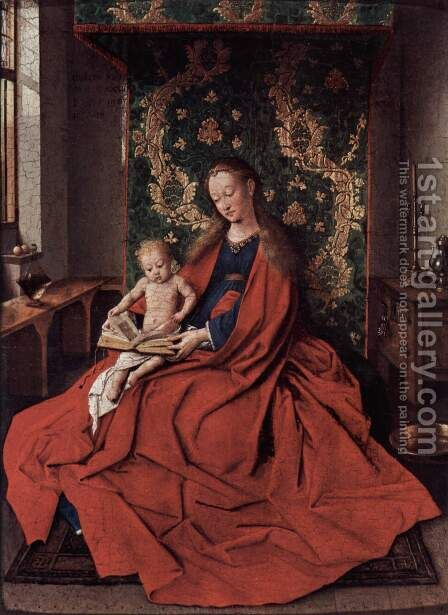 Madonna with the Child Reading 1433 by Jan Van Eyck - Reproduction Oil Painting
