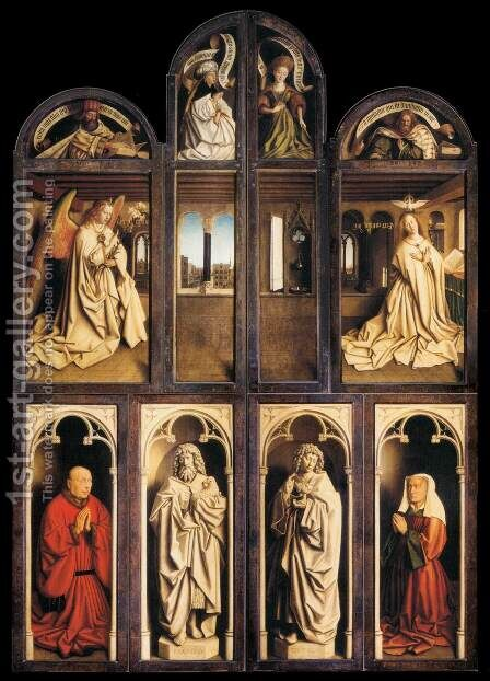 The Ghent Altarpiece (wings closed) 1432 by Jan Van Eyck - Reproduction Oil Painting