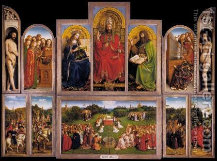 The Ghent Altarpiece (wings open) 1432 by Jan Van Eyck - Reproduction Oil Painting