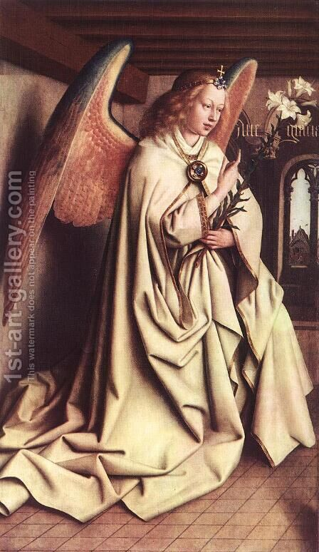 The Ghent Altarpiece Angel Of The Annunciation by Jan Van Eyck - Reproduction Oil Painting