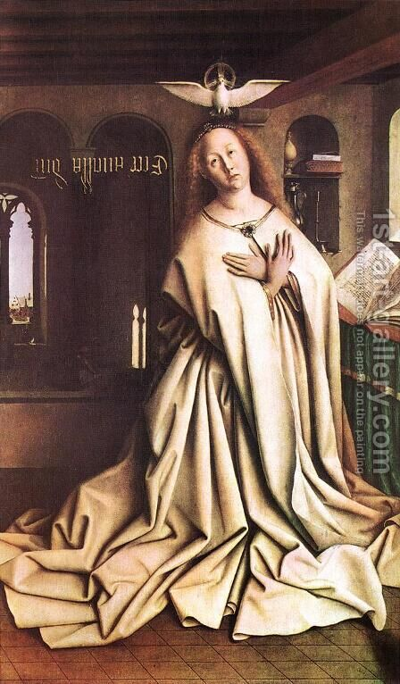 The Ghent Altarpiece- Mary of the Annunciation 1432 by Jan Van Eyck - Reproduction Oil Painting