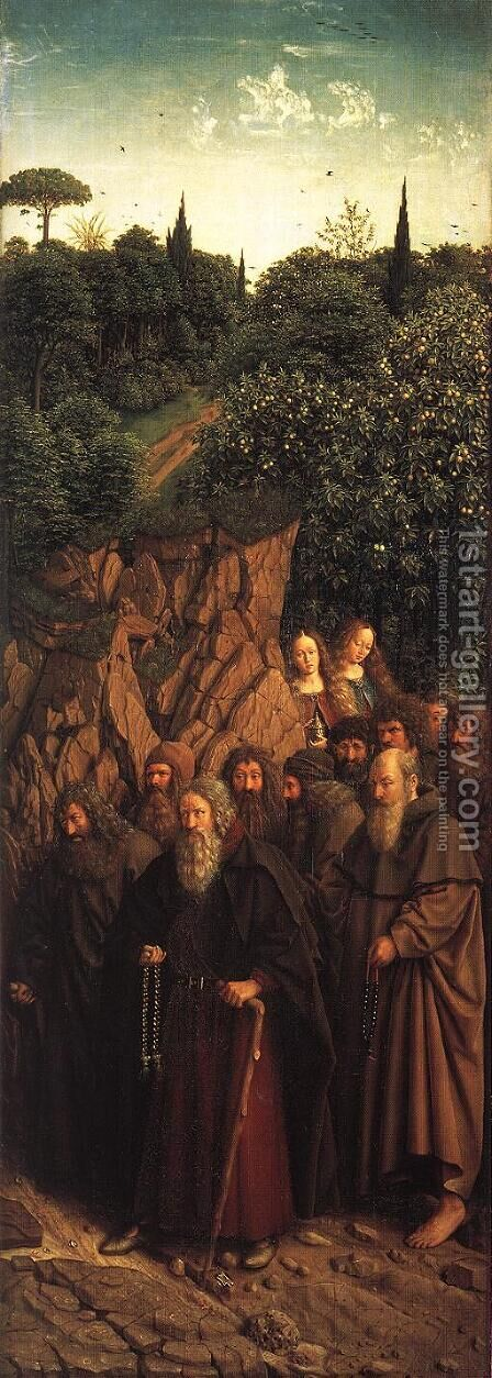 The Ghent Altarpiece- The Holy Hermits 1427-30 by Jan Van Eyck - Reproduction Oil Painting
