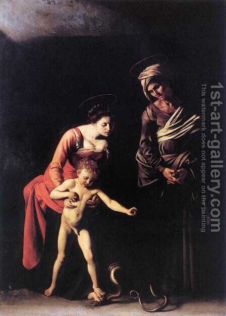 Madonna with the Serpent 1606 by Caravaggio - Reproduction Oil Painting