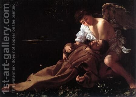 St. Francis in Ecstasy c. 1595 by Caravaggio - Reproduction Oil Painting