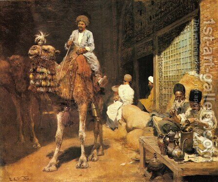 A Marketplace In Ispahan by Edwin Lord Weeks - Reproduction Oil Painting