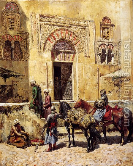Entering The Mosque by Edwin Lord Weeks - Reproduction Oil Painting