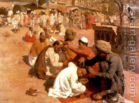 Indian Barbers   Saharanpore by Edwin Lord Weeks - Reproduction Oil Painting