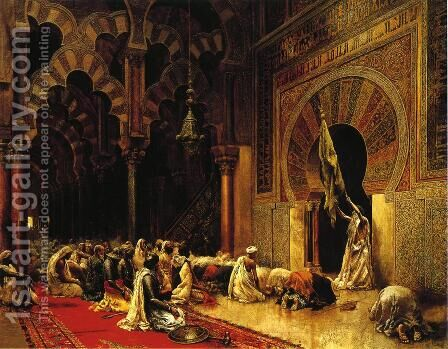 Interior Of The Mosque At Cordova by Edwin Lord Weeks - Reproduction Oil Painting