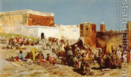 Open Market  Morocco by Edwin Lord Weeks - Reproduction Oil Painting