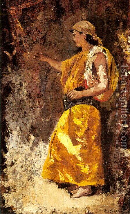 Standing Arab Woman by Edwin Lord Weeks - Reproduction Oil Painting