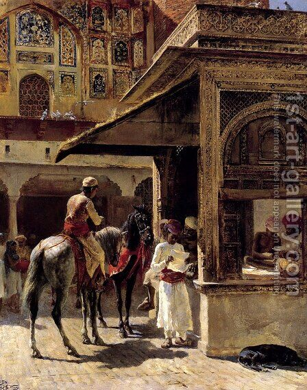 Street Scene In India by Edwin Lord Weeks - Reproduction Oil Painting