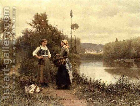 A Conversation by Daniel Ridgway Knight - Reproduction Oil Painting