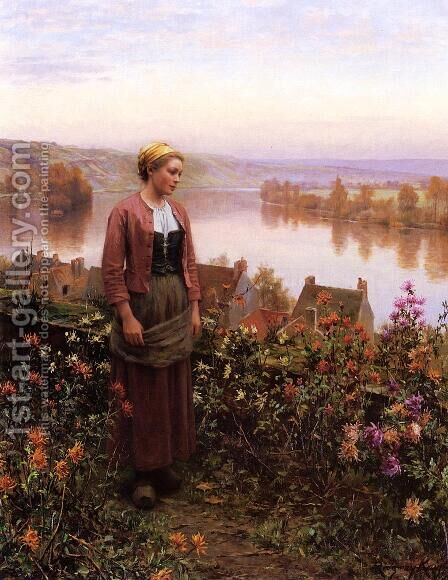 A Garden Above The Seine  Rolleboise by Daniel Ridgway Knight - Reproduction Oil Painting