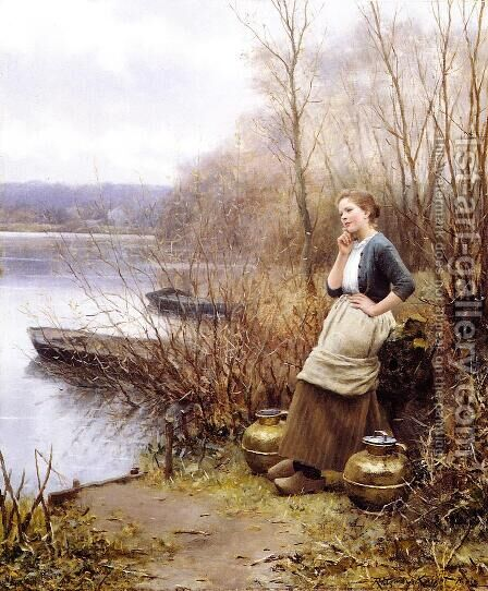 A Lovely Thought by Daniel Ridgway Knight - Reproduction Oil Painting
