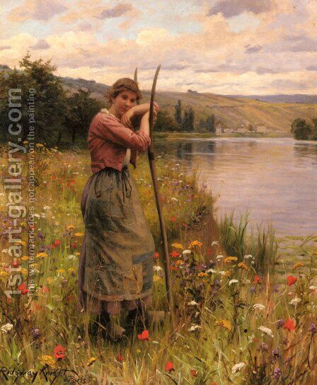 A Moment Of Rest by Daniel Ridgway Knight - Reproduction Oil Painting