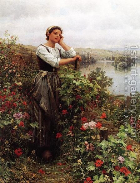 A Pensive Monent by Daniel Ridgway Knight - Reproduction Oil Painting