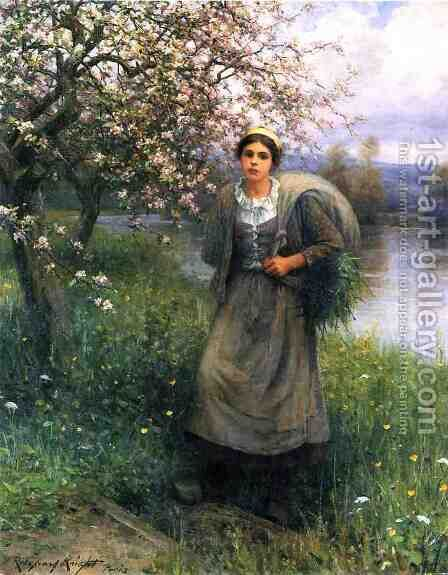 Apple Blossoms In Normandy by Daniel Ridgway Knight - Reproduction Oil Painting