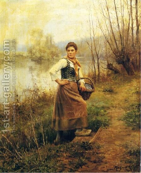 Country Girl by Daniel Ridgway Knight - Reproduction Oil Painting