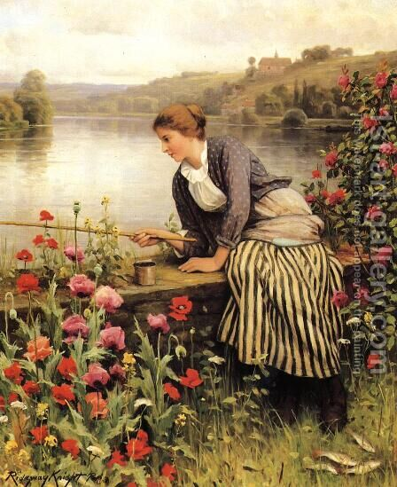 Fishing2 by Daniel Ridgway Knight - Reproduction Oil Painting