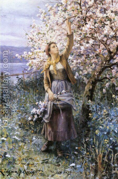 Gathering Apple Blossoms by Daniel Ridgway Knight - Reproduction Oil Painting