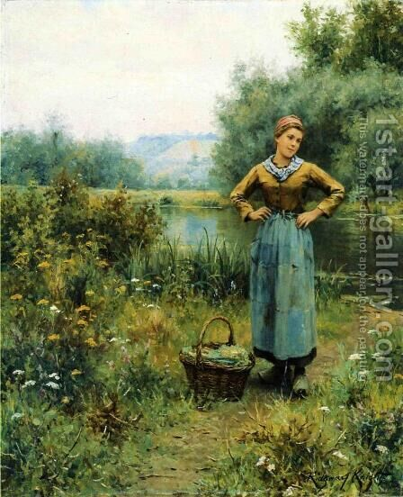 Girl In A Landscape by Daniel Ridgway Knight - Reproduction Oil Painting