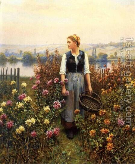 Girl With A Basket In A Garden by Daniel Ridgway Knight - Reproduction Oil Painting