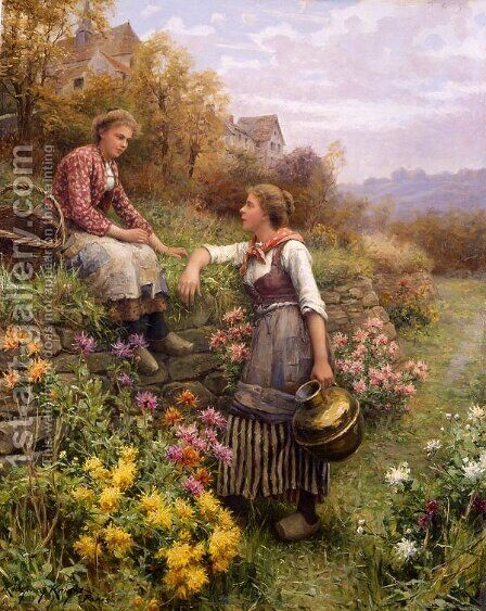 Gossips by Daniel Ridgway Knight - Reproduction Oil Painting