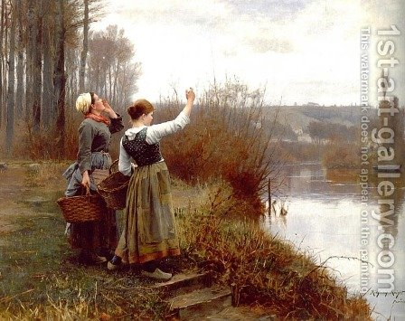 Hailing The Ferry by Daniel Ridgway Knight - Reproduction Oil Painting
