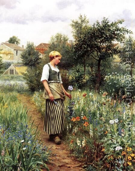 In The Garden by Daniel Ridgway Knight - Reproduction Oil Painting