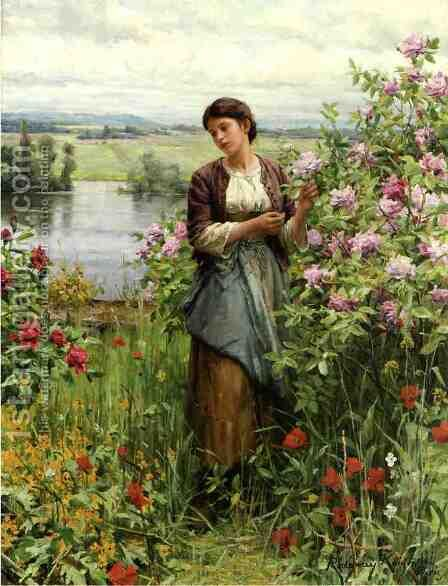 Julia Among The Roses by Daniel Ridgway Knight - Reproduction Oil Painting