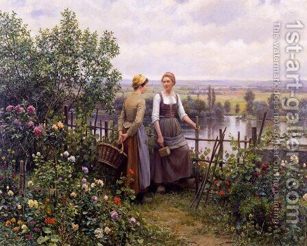 Maria And Madeleine On The Terrace by Daniel Ridgway Knight - Reproduction Oil Painting