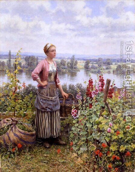 Maria On The Terrace With A Bundle Of Grass by Daniel Ridgway Knight - Reproduction Oil Painting