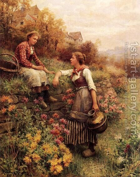Marie And Diane by Daniel Ridgway Knight - Reproduction Oil Painting