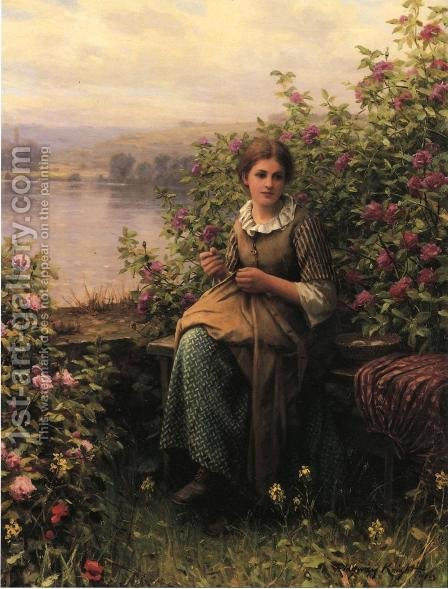 Mending by Daniel Ridgway Knight - Reproduction Oil Painting