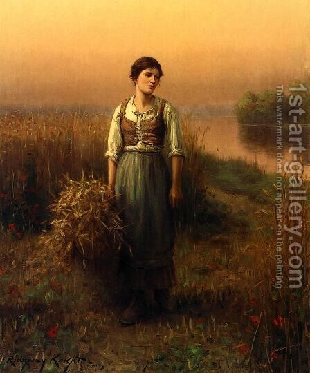 Normandy Maid by Daniel Ridgway Knight - Reproduction Oil Painting