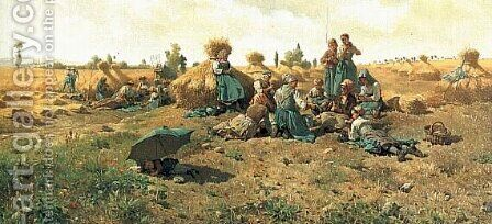 Peasants Lunching In A Field by Daniel Ridgway Knight - Reproduction Oil Painting