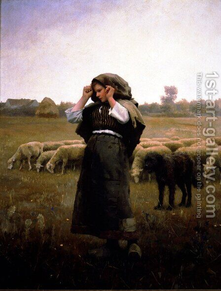 Shepherdess And Her Flock by Daniel Ridgway Knight - Reproduction Oil Painting