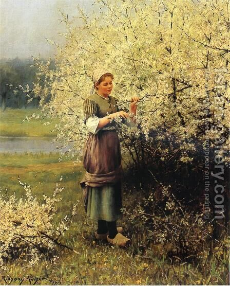 Spring Blossoms by Daniel Ridgway Knight - Reproduction Oil Painting