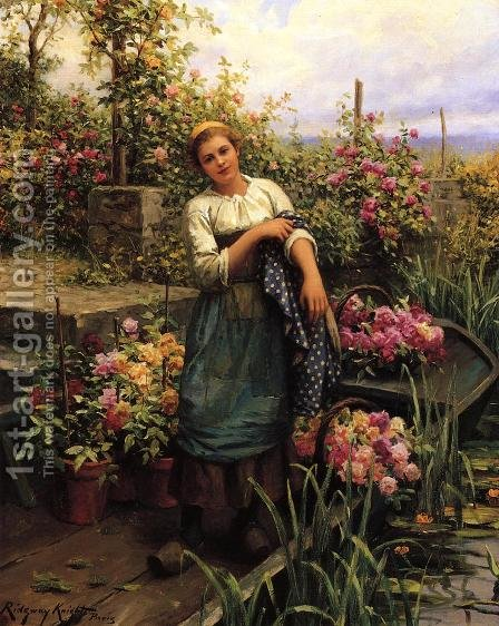 The Flower Boat by Daniel Ridgway Knight - Reproduction Oil Painting