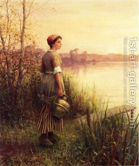 The Golden Sunset by Daniel Ridgway Knight - Reproduction Oil Painting