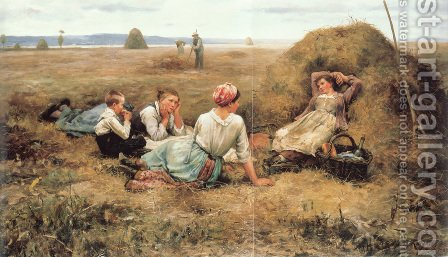 The Harvesters Resting by Daniel Ridgway Knight - Reproduction Oil Painting