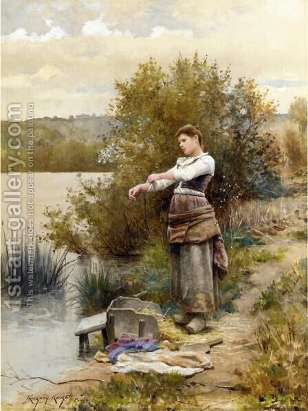 The Laundress by Daniel Ridgway Knight - Reproduction Oil Painting