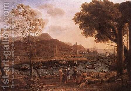 Harbour Scene with Grieving Heliades c. 1640 by Claude Lorrain (Gellee) - Reproduction Oil Painting