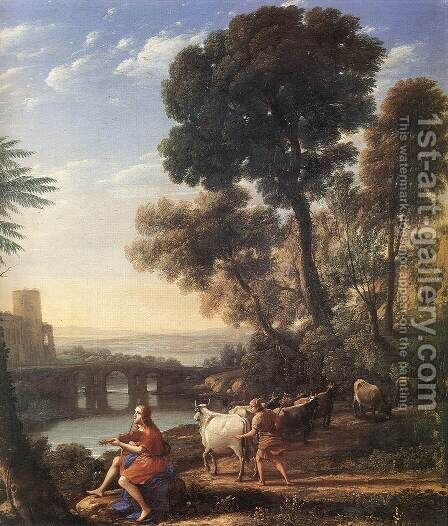 Landscape with Apollo Guarding the Herds of Admetus 1645 by Claude Lorrain (Gellee) - Reproduction Oil Painting